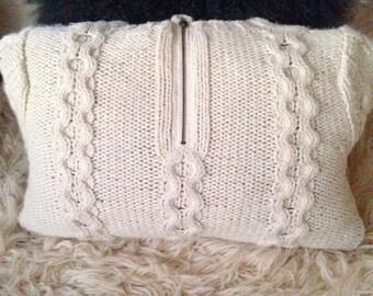 Rustic wool blend nubby crochet knitted pillow cover 16x20 soft home decor throw textile fiber art oatmeal modern textile boho vol 2