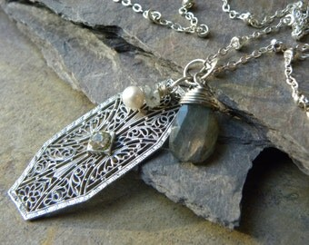 Sterling Silver VINTAGE filigree, Labradorite and Pearl NECKLACE
