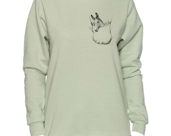 Donkey In Pocket Burro Mule Art LADIES Sweatshirt Small - 2XL