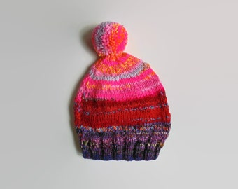 Purple Pink Red Wool Pom Pom Beanie Hand Knit, One of a Kind, Stocking Hat, Chunky, Winter Hat, Women Beanies, Pompom Bonnet Hat, Bobble Hat