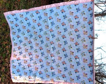 Baby Blanket Blue and Pink Rocking Horse Pattern