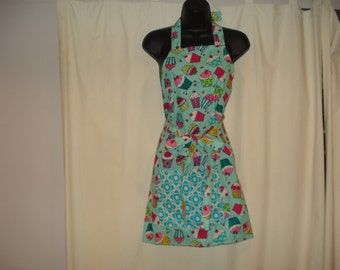 Cute Chef's Apron in a Cup Cakes Pattern, It Is One Size Fits All