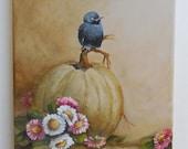 Crow Bird painting original art baby crown Autumn pumpkin aster flowers