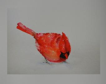Cardinal  bird PRINT 5x7 of original watercolor painting The First Snow