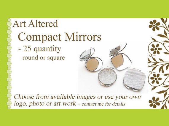 Compact MIRRORS 25 gifts round square custom personalized party favors stocking stuffers bachelorette family reunion shower wedding baby