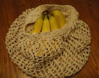 Knit Market Bag, Tan Cotton