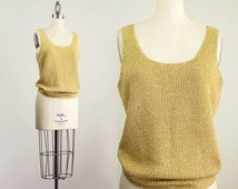 90s Vintage Gold Metallic Knit Tank Top / Size Small / Medium