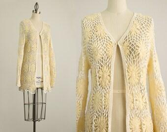 70s Vintage Cream Open Knit Crochet Floral Sweater Coat / Size Small / Medium