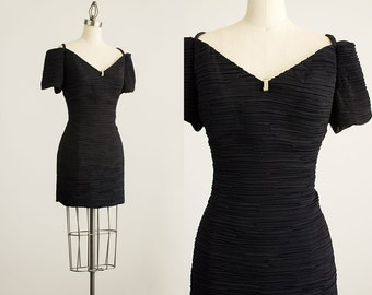 90s Vintage Black Off Shoulder Rhinestone Mini Cocktail Dress / Size Medium