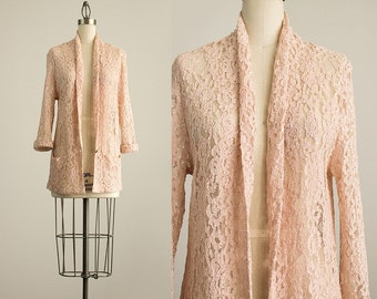 90s Vintage Antique Rose Sheer Lace Slouchy Blazer Coat / Size Small / Medium