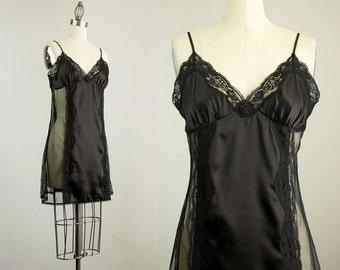 90s Vintage Black Lace Mini Slip Dress / Size Medium