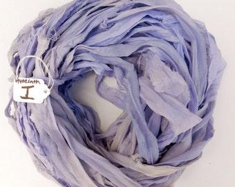Sari silk ribbon, Silk Chiffon sari ribbon, Recycled Silk Sari Ribbon, Lilac ribbon, Hyacinth ribbon