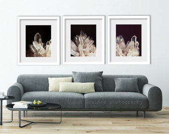 "Quartz Crystal Prints - Nature Wall Art - Mineral Art - Fine Art Photography  11x14 8x10 ""Quartz Crystal Set of Three"""