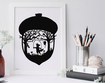 Silhouette Fox Paper Cut Little Fox Scherenschnitte Possum Hedgehog Squirrel Bird Acorn Woodland