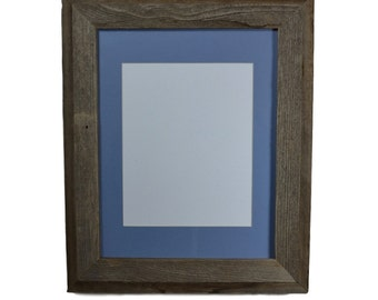 Gallery style 11x14 picture frame with light blue mat for 8x10 prints or photos