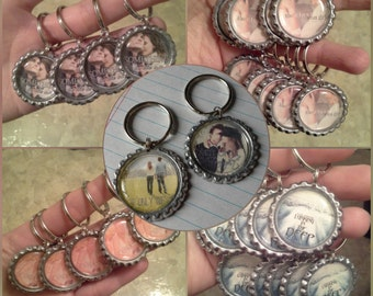Custom Bottle Cap Charm Keychains featuring Book Covers for Authors (quantities vary - 5 to 25)