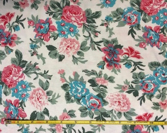"""Cotton poly lycra rib knit 48"""" wide Pink and Blue Floral  1 yard"""
