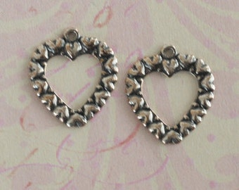 SALE 2 Silver Open Heart Charms 2465