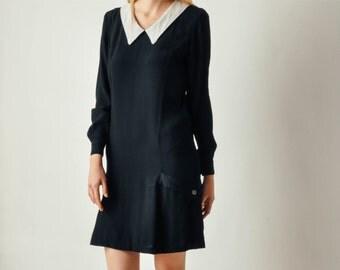 Vintage White Collar Black Dress
