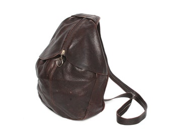 GRUNGE brown leather 80s 90s TRIANGLE slouchy BACKPACK mini knapsack