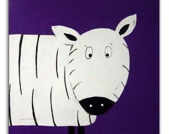 Jungle Animal Zebra Painting /  Canvas / Children's Art / Kids / Nursery Decor