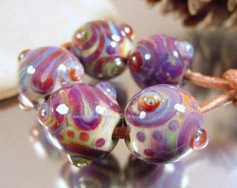 Handmade lampwork glass beads, Artisan glass beads, purple beads, green beads, blue beads, round beads, SRA handmade artisan bead set.