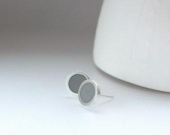 Grey Stud Earrings - Small Resin Earrings - Gray Jewelry - Round Post earrings - Modern Stud Earring -  Bridesmaids Gift