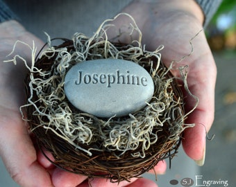 New mom, new parent gift - newborn personalized engraved gift nest - Baby's Nest (c) by sjEngraving