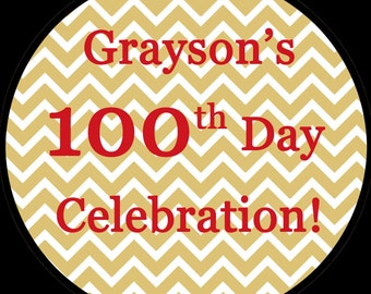 """63 Personalized Round Stickers -  100th Day Design  - 1"""" Rounds"""