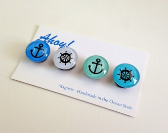 Ahoy Nautical Magnets or push pins - set of 4 anchor and shipwheel silhouettes