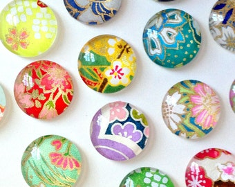 MOST POPULAR - Mixed Bag- set of 8 Glass Magnets - Handmade with Japanese Chiyogami paper - assorted designs- colorful pretty floral designs