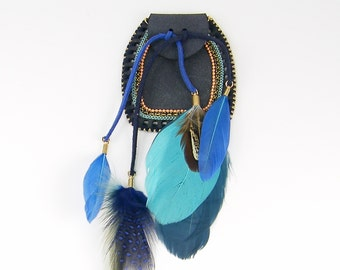 Pouch Necklace Pendant Aqua Blue Turquoise Faux Suede Boho Hippie Jewelry Accessory Component |LG2-10|1