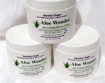 Aloe Wonder - Aloe Formula Skincare Cream (Face and Body Cream for all skin types) gift idea, Stardust Soaps