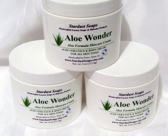 Aloe Wonder - Aloe Formula Skincare Cream (Face and Body Cream for all skin types) gift idea, Stardust Soaps