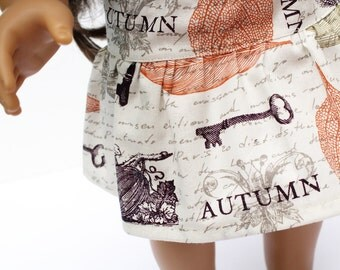Fits like American Girl Doll Clothes  - The Golden Autumn Collection, A Yoke Skirt in Cream