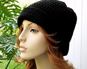 BEANIE Cloche BLACK Crochet Hat  //  Womens Accessories  // Winter Skull Cap - Ski Hat - Flapper Hat  //  Unisex Black Hat...Ready-to-Ship