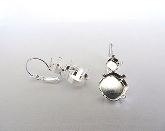 1 Pair Silver Plated 2 Stone Lever Back Earrings for 29ss Chaton & 12mm Square