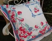 Pillow sham Vintage tablecloth Strawberries Farmhouse Summer Porch red white blue RDT ECS FVGteam