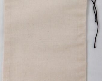 100 6x10 Inch Cotton Muslin Blakc Hem and Black Drawstring Bags