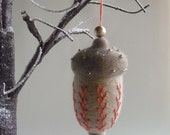 Decorative acorn,  needle felted & embroidered tree ornament by Gretel Parker with gift box