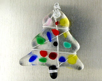 Fused Glass Christmas Tree Ornament, Fused Glass Christmas Tree Suncatcher, Fused Glass Holiday Ornament, Christmas Window Ornament