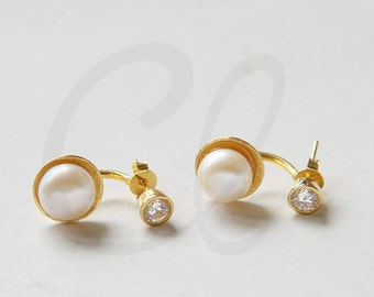Gold Plated Sterling Silver Crystal Stud Earring with Fresh Water Pearl Drop Cuff Backing - Ear Jacket (E135)
