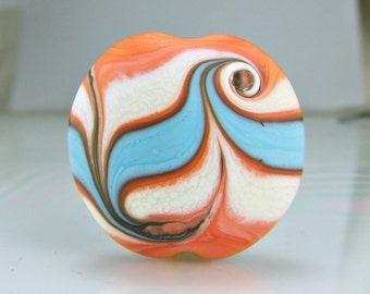 Etched Coral Ivory Turquoise Lampwork Focal  Bead Set SRA Beads