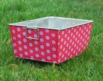 Cherry Pink Laurel Dot Galvanized Tub Rectangular Storage Bin
