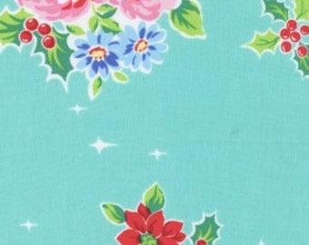 Aqua Christmas Floral Holly Berry 31327 70 Fabric by Lecien Flower Sugar Holiday