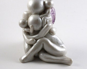 Twinless Twin or Rainbow Baby sculpture with one earthside and one heavenside baby - child loss memorial gift - clay angel - made to order