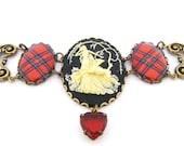 Scottish Tartan Jewelry - Ancient Romance Series - Royal Stewart VIctorian Stag Cameo Tartan Filigree Bracelet with Siam Glass Heart Charm