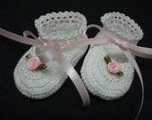 Christening Baby Shoes, Christening Crochet Booties Pink Roses Newborn Girl Reborn