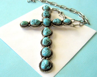 Huge Navajo Turquoise and Sterling Cross and Handmade Sterling Chain