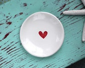 Red Heart on Small Round Ring Dish, Trinket Dish with Red Heart